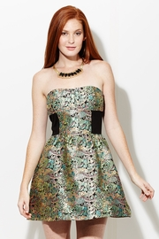 Brocade Burst Metallic Strapless Dress
