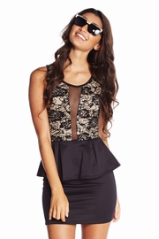 Champagne and Crystals Sequined Lace Peplum Dress