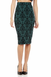 Flock and Scroll Midi Pencil Skirt