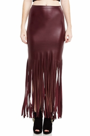 Fringe Fantasy Faux Leather Midi Skirt