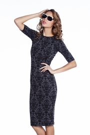 From Regal to Riches Flocked Charcoal Midi Dress