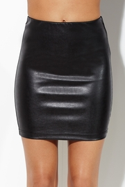 Front and Back-Stabber Faux Leather Skirt
