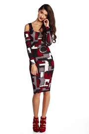 Geometric Infusion Wine Midi Dress