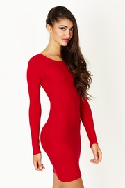 Great Escape Red Ribbed Sweater Dress