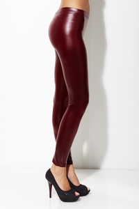 Meet Me by My Locker Wine Faux Leather Legging