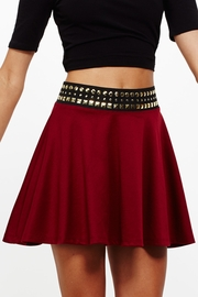 Nail It Elastic Waist Wine Skater Skirt
