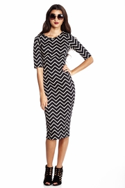 On-Line Connection Chevron Midi Dress