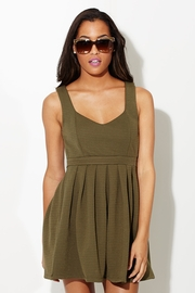 Open Back Open Heart A-Line Olive Dyed Green Dress