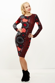Ruffle My Feathers Red Peacock Midi Dress