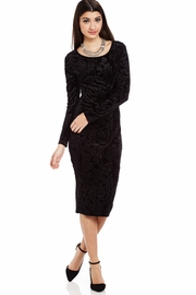 Show Who�s Em-Boss-ed Velvet Midi Dress