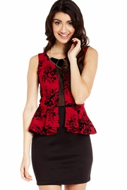 Showered with Flowers Flocked Peplum Dress