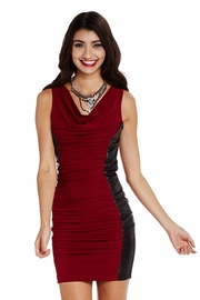 Taking Sides Ruched Dress with Faux Leather