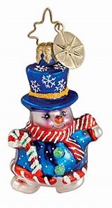 "Christopher Radko Little Gem Glass Ornament - ""Snow-Fun Snowman"""
