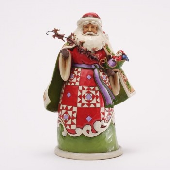 "Jim Shore Figurine - ""Christmas Miracles are in Your Grasp - Santa Holding Sleigh Figurine"""