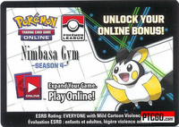 POKEMON PTCGO NIMBASA GYM CODE SEASON 4 - Pokemon League Card Code Season Four - Delivered Super Fast By Email -  - Each code unlocks (2) Emolga (1) N Trainer Card and (4) Lightning Energy for a total of 7 promo cards.
