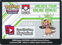 XY CHESPIN LEAGUE POKEMON ONLINE CODE SEASON 1 - Code unlocks (2) Nincada (2) Ninjask (1) Skyla and (4) Grass Energy