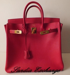 Authentic Hermes Chevre de Coromandel HAC 32 cm Birkin Rouge Vif Gold