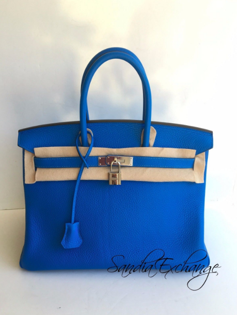 hermes kelly 32cm blue hydra with palladium hardware