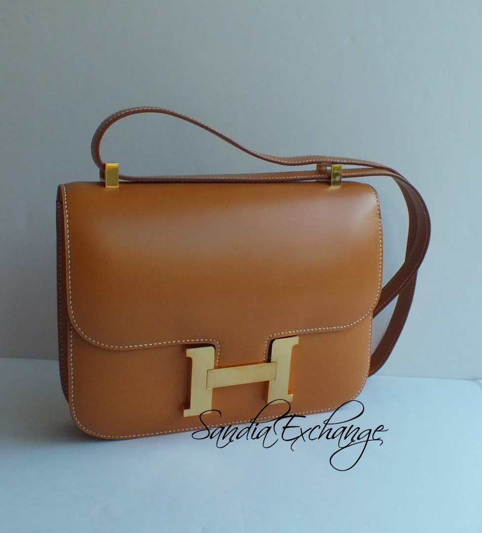 authentic brown hermes constance bag
