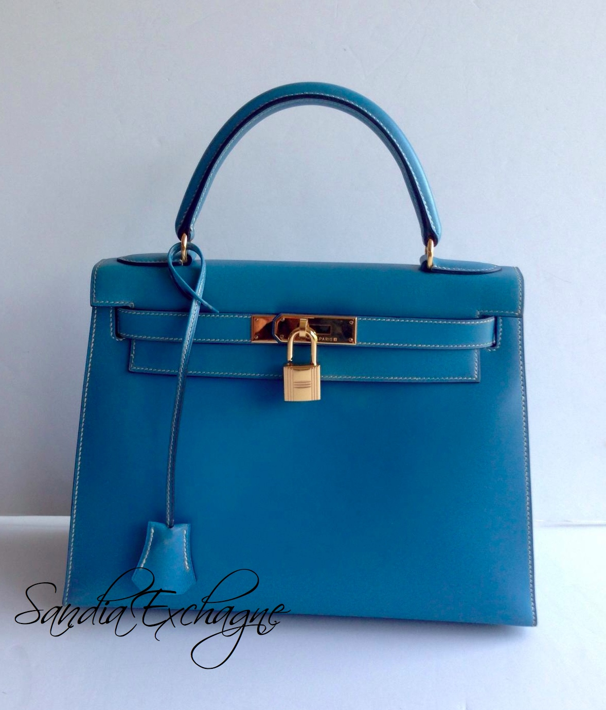 hermes birkin green ostrich - Hermes 28cm Clemence Blue Jean Kelly Bag with Palladium Hardware