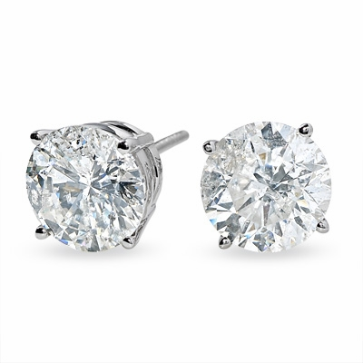 1.01 Carat tw. Round Brilliant Diamond Prong Style Stud Earrings 14k white Gold G-SI2