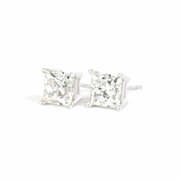 1.05 Carat tw. Princess Cut Diamond Stud Earrings 14kt white G-SI2