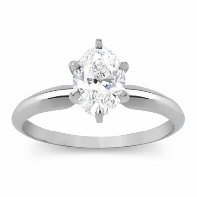 14kt Classic Solitaire Style Ring With 1.02 Carat E-SI1 Oval Diamond