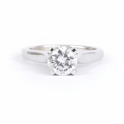 14kt Classic Solitaire Style Ring With 1.05 Carat H-SI2 Round Diamond