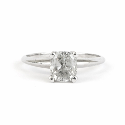 14kt Classic Solitaire Style Ring With 1.55 Carat F-SI2 Cushion Diamond