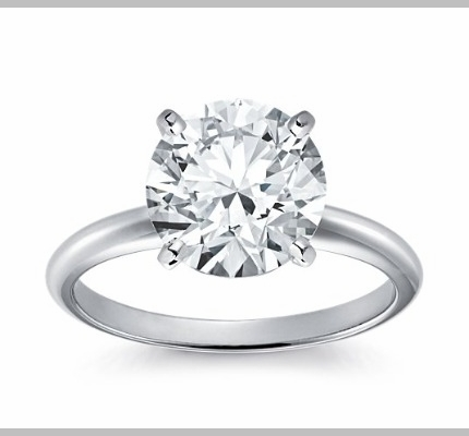 14kt Classic Solitaire Style Ring With 2.91 Carat H-SI2 Round Diamond