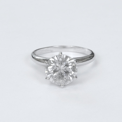 14kt Classic Solitaire Style Ring With 3.65 Carat G SI2 Round Diamond