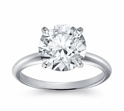 14kt Classic Solitaire Style Ring With 3.76 Carat G-SI3 Round Diamond