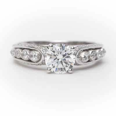 14kt Classic Style Ring With 1.85Ctw F- SI2 Round Diamond