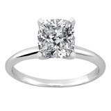 14kt Classic Style Solitaire Ring With 1.01 Carat G SI2 Cushion Diamond