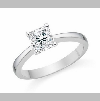 14kt Classic Style Solitaire Ring With 1.80 Carat G- SI2 Princess Diamond