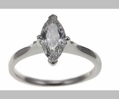 14kt Classic Style Solitaire Ring With 2.08 Carat F- SI2 Marquise  Cut Diamond