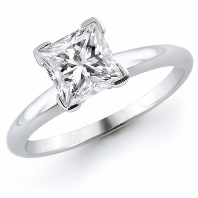 14kt Classic Style Solitaire Ring With 2.10 Carat H- SI2 Princess Cut Diamond