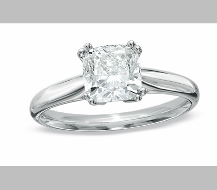 14kt Classic Style Solitaire Ring With 2.25 Carat G- SI2 Cushion Cut Diamond