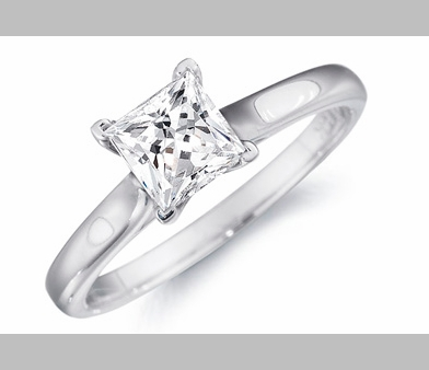 14kt Classic Style Solitaire Ring With 2.60 Carat H- SI-2 Princess Diamond