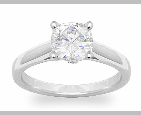14kt Classic Style Solitaire Ring With 2.89 Carat H- SI3 Cushion Cut Diamond