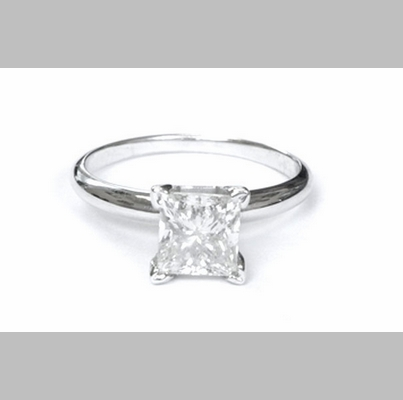 14kt Gold Classic Style Solitaire Ring With 1.20ct H-SI2 Princess Diamond