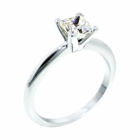14kt Gold Classic Style Solitaire  Ring With 3.17 Ct F-SI2 Princess Diamond
