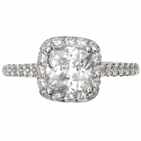 14kt Halo Pave Cushion Diamond Engagement Ring 2.08 Total Weight G SI2