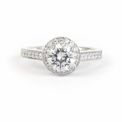 14kt Halo Pave Diamond Engagement Ring 1.62 Total Weight G SI2