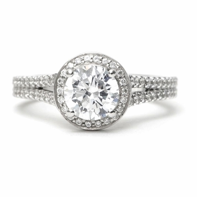 14kt Halo Pave Split Shank Diamond Engagement Ring 2.55 Total Weight G SI2