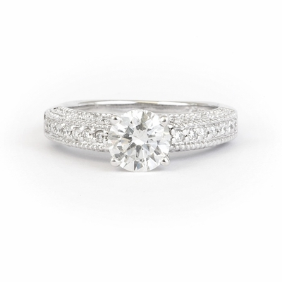 14kt White Gold Vintage Round  Style Engagement Ring with with 1.50 Total Carat F-SI1 Round Diamond