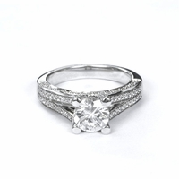 14kt Halo Pave Diamond Engagement Ring 1.85 Total Weight F SI2