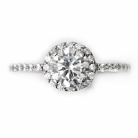 14kt Halo Pave Diamond Engagement Ring 1.15 Total Weight G SI1