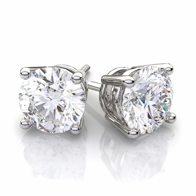 2.02 Carat tw. Round Brilliant Diamond Prong Style Stud Earrings 14k White G-SI1