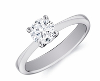 14kt Classic Style Solitaire Ring With 2.70 Carat H- SI-2 Round Diamond